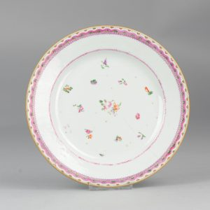 18th c Famille rose Chinese porcelain plate flowers